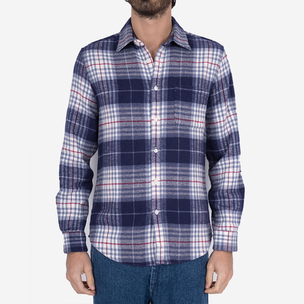 Bleeckers Check Plaid Flannel Shirt - Navy/Blue/White
