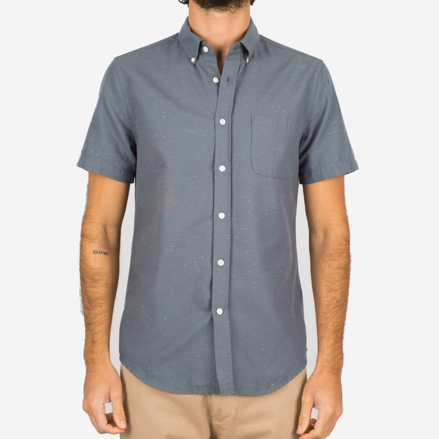 Portuguese Flannel - Blur Short-Sleeve Shirt - Anthracite Fleck
