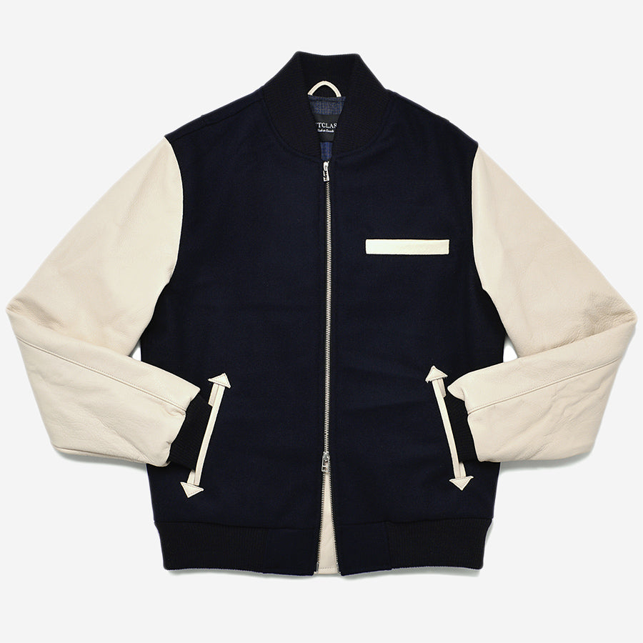 Outclass Attire - Bomber Jacket - Navy/Ecru