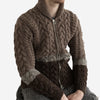 Cable Knit Wool Zip Sweater - Brown/Beige/Sand