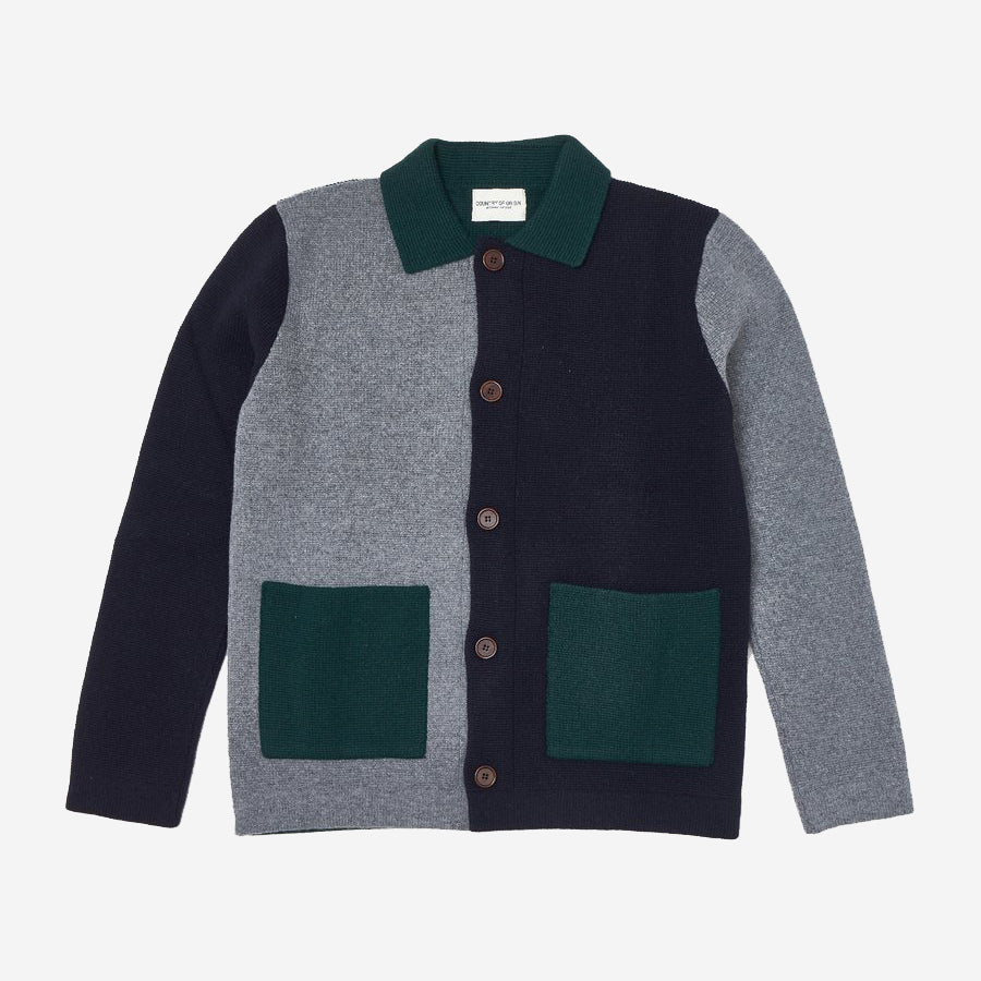 Lambswool Chore Jacket Multi - Grey/Tartan Green/Navy
