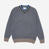 College Vee Lambswool Sweater - Grey Mix