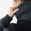 FAITZ - Colour-Block Wool Zip Cowichan Sweater - Blue/Indigo