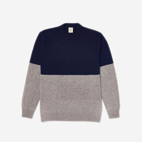Country Of Origin - Colour Switch Lambswool Sweater - Navy/Grey