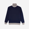 Country Of Origin - Contrast Lambswool Turtleneck - Navy/Grey
