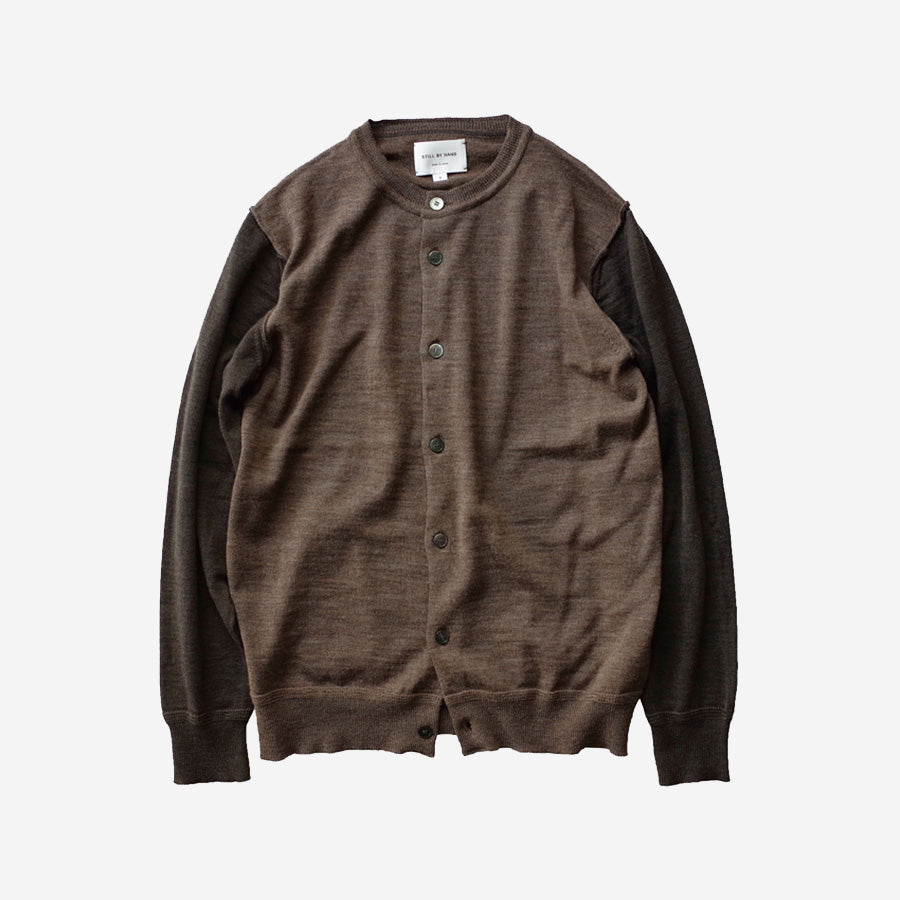 STILL BY HAND - Crew Neck Wool Knit Cardigan - Brown
