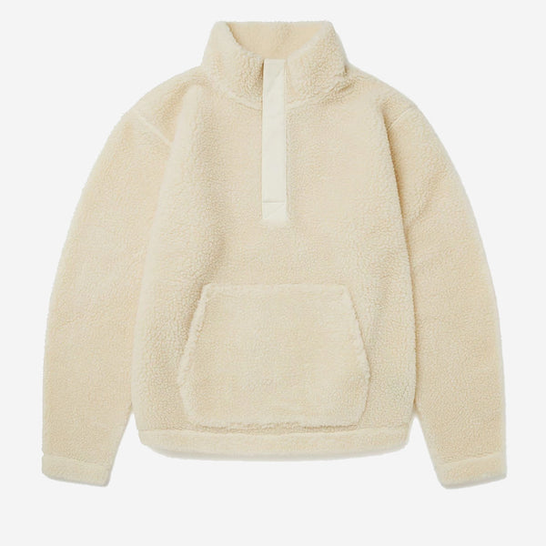 Albam - Curly Fleece Snap Neck Pullover - Ecru