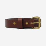 Apogee Goods - Daily 11oz Leather Belt - Chestnut/Brass