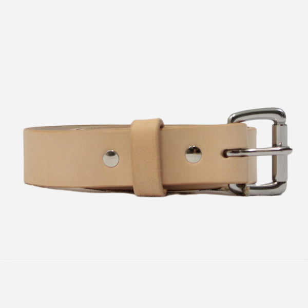 Apogee Goods - Daily 11oz Leather Belt - Vegetable Tanned Natural/Stainless Steel