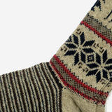Deer Snow Wool Crew Socks - Beige