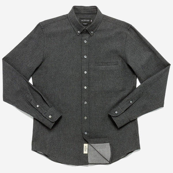 Outclass Attire - Double-Sided Flannel Shirt - Charcoal/Houndstooth