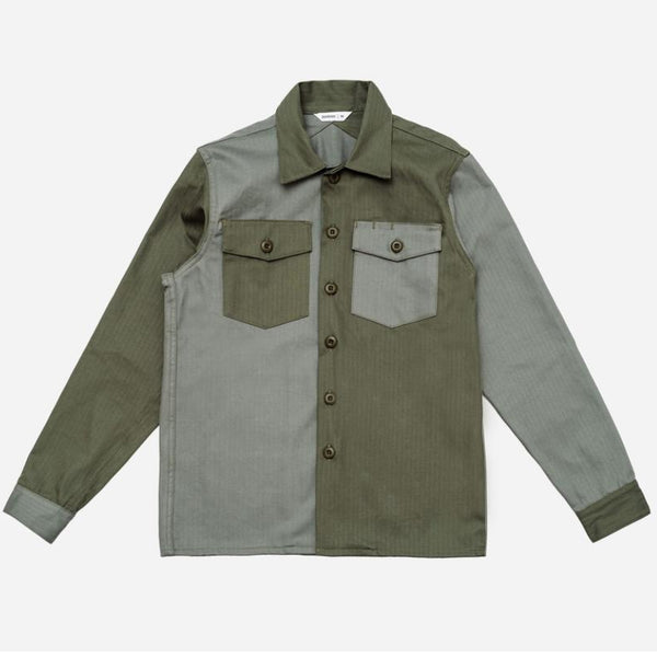 Fatigue Overshirt - Olive Block Herringbone