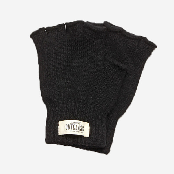 Outclass Attire - Fingerless Wool Gloves - Black