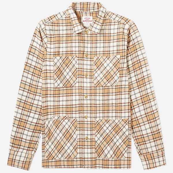 Battenwear - Five Pocket Canyon Shirt - Beige Plaid Blanket Flannel