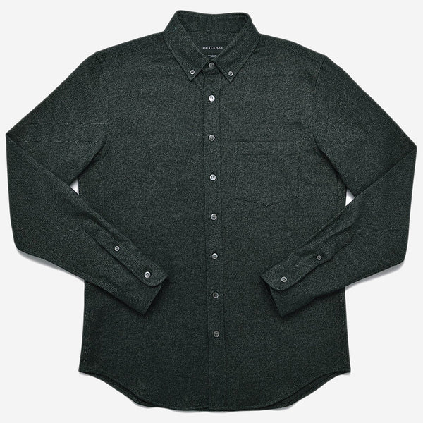 Outclass Attire - Flannel Shirt - Forest Green Twill