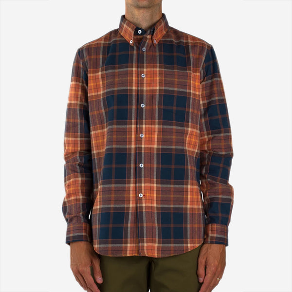 Gino Brushed Oxford Plaid Shirt - Orange/Blue