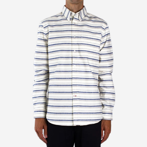 Bon Vivant - Gino Heavyweight Moleskin Stripe Shirt - Off-White/Blue