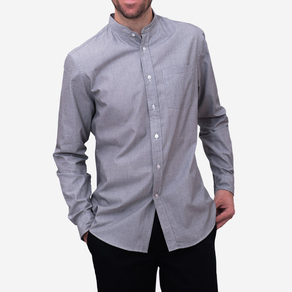 Bon Vivant - Gino Mao Long-Sleeve Shirt - End on End Grey