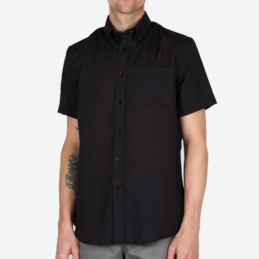 Bon Vivant - Gino Short-Sleeve Linen Shirt - Black