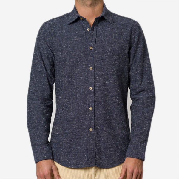 Portuguese Flannel - Gross Flannel Shirt - Blue Slub Fleck