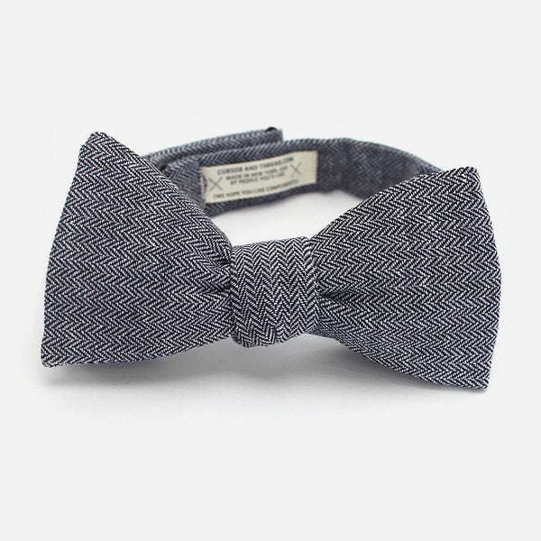 Cursor & Thread - Harrison Herringbone Midnight Blue Bow Tie