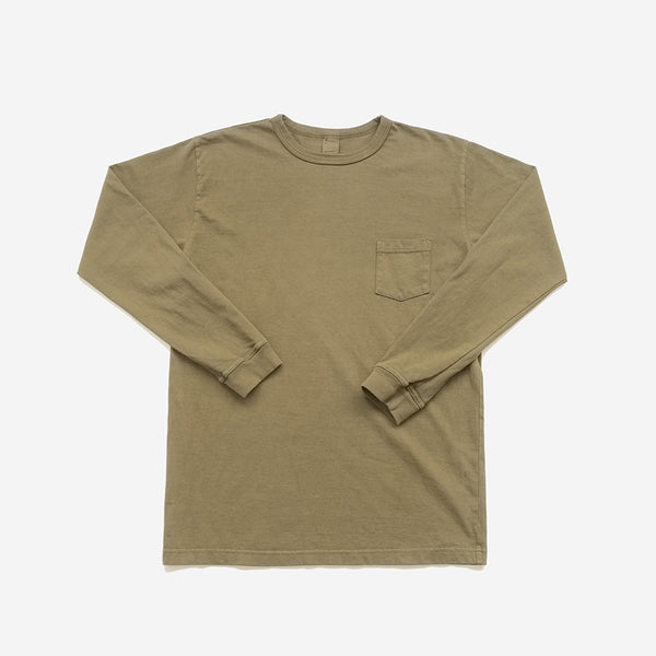 Garment Dyed Heavyweight L/S Pocket T-Shirt - Military Green