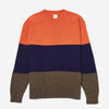 Lambs/Mohair Trapper Stripe Sweater - Orange/Navy/Khaki