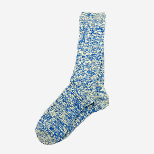Lightweight Slub Crew Socks - Blue