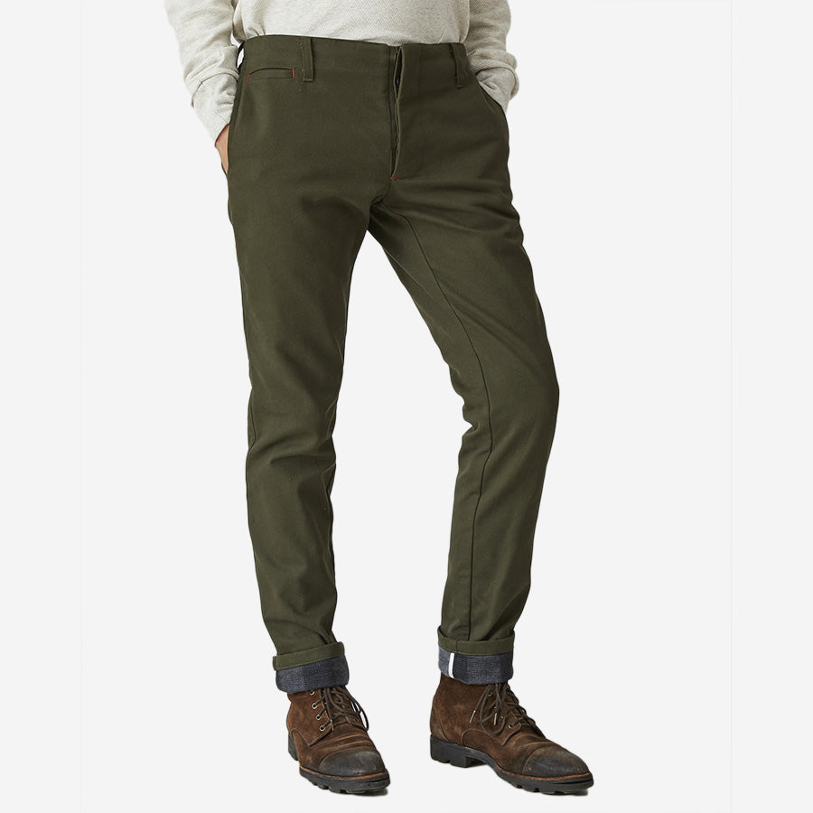 The Field Pant - Flannel Lined - Olive Twill