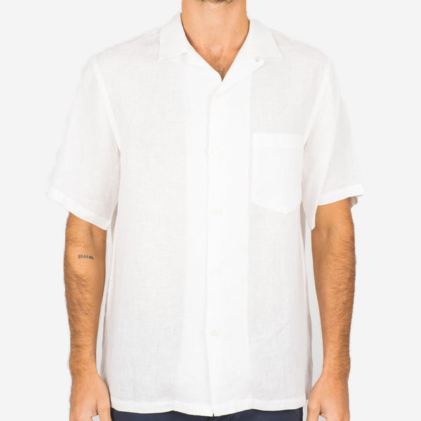 Portuguese Flannel - Linen Short-Sleeve Vacation Shirt - White