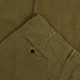 Portuguese Flannel - Linen Trousers - Military Olive