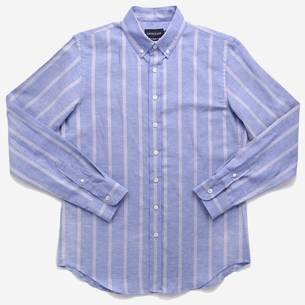 Outclass Attire - Long-Sleeve Shirt - Blue Vertical Stripe