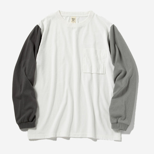 Long-sleeve Pocket T-Shirt - White x Grey