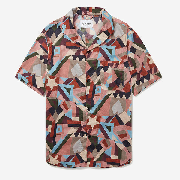 Miles S/S Vacation Shirt - Pastel Aerial Print