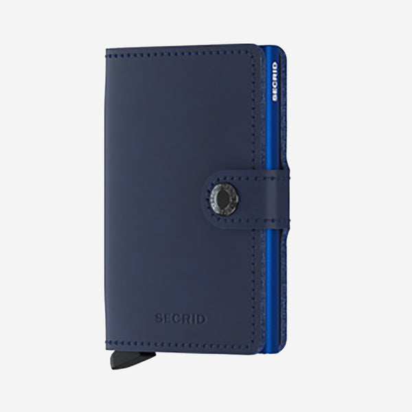 Securid - Mini Wallet - Navy Blue Leather