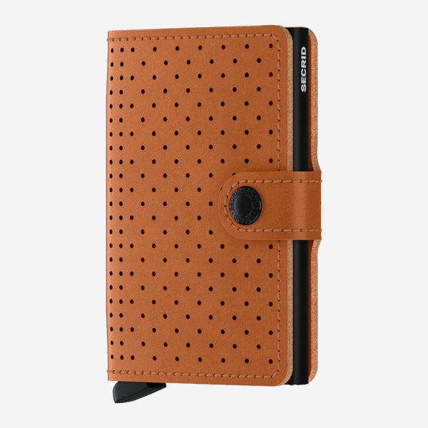Secrid - Mini Wallet - Perforated Cognac Brown Leather