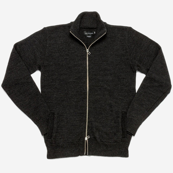 Outclass Attire - Mockneck Merino Sweater - Charcoal Grey