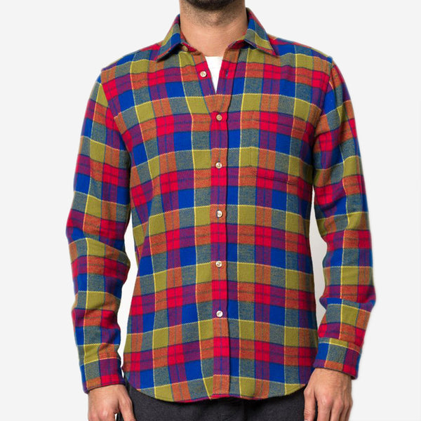 Portuguese Flannel - Nebraska Check Flannel Shirt - Olive/Red/Blue