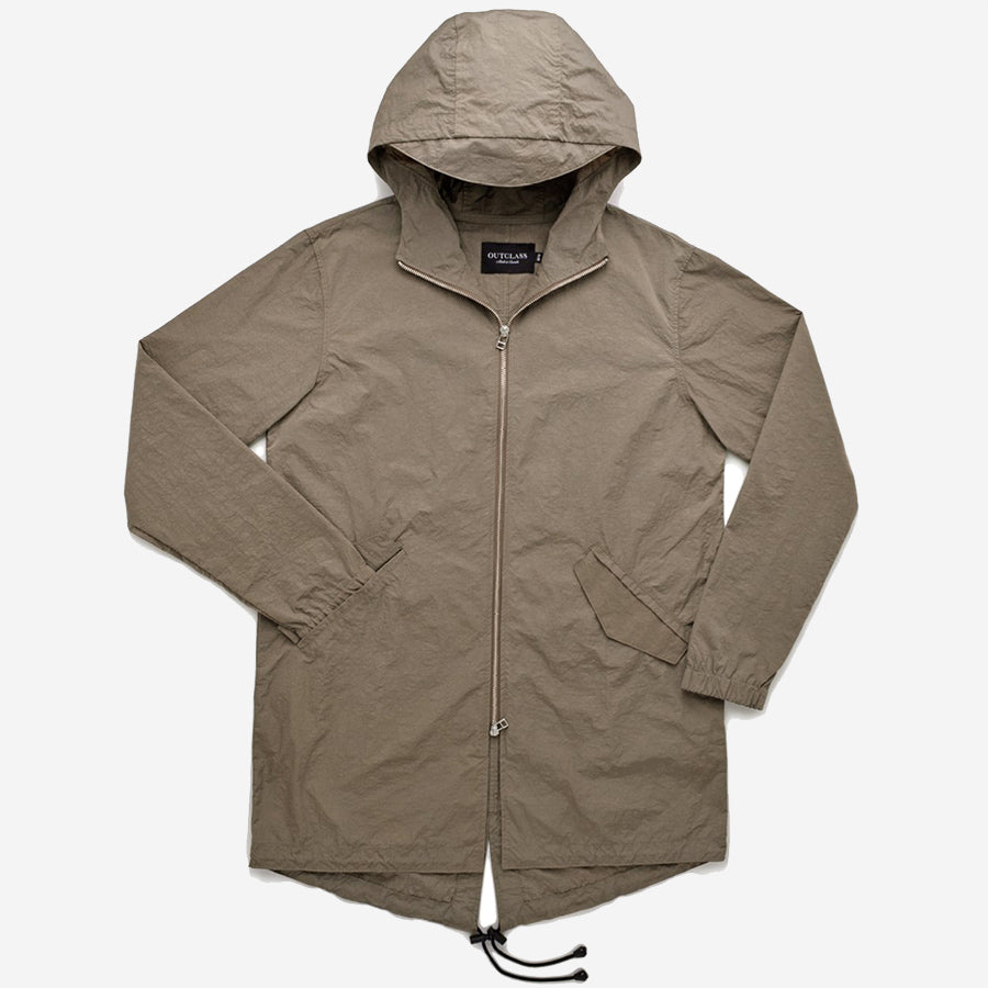 Outclass Attire - Nylon Water Repellent Fishtail Jacket - Taupe