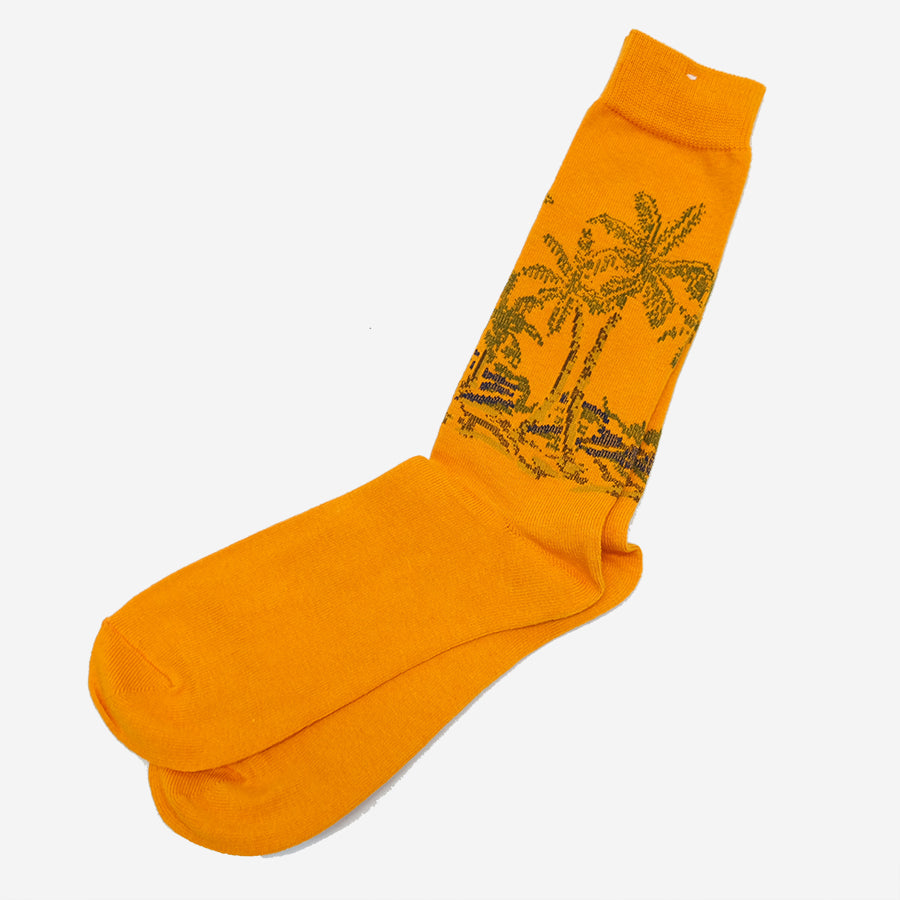Anonymous Ism - Palm Tree Crew Socks - Orange