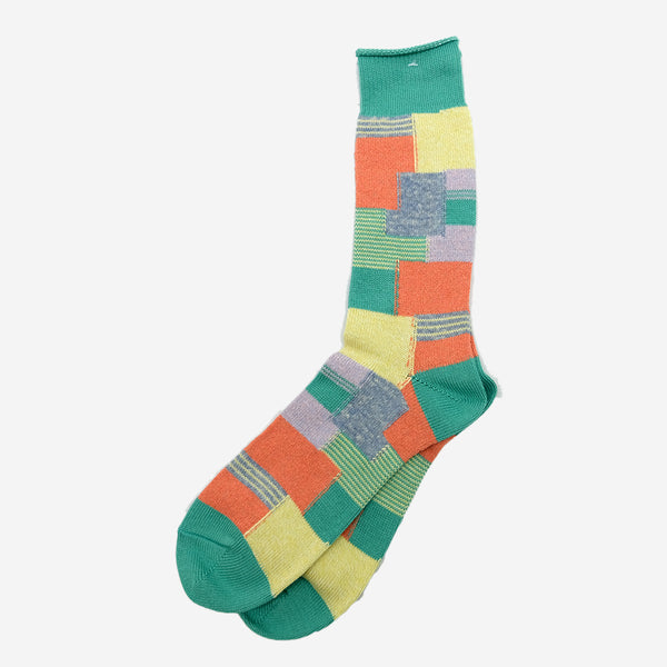 Patchwork Crew Socks - Mint