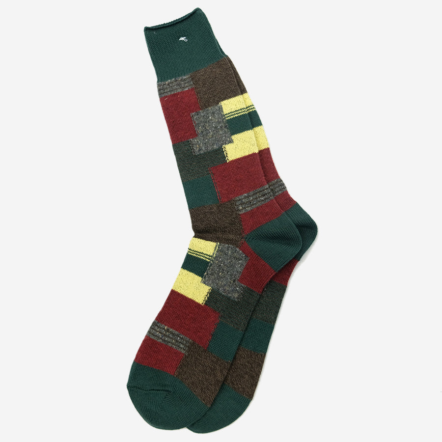 Anonymous Ism - Patchwork Crew Socks - Moss