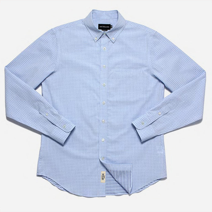 Outclass Attire - Pin Dot Shirt - Light Blue