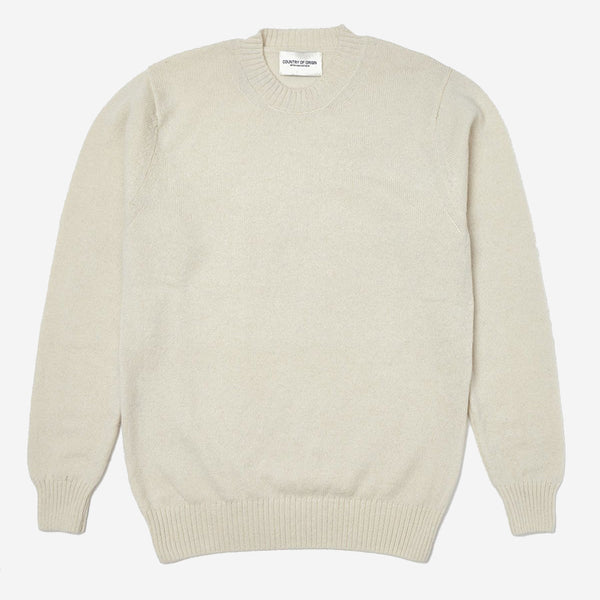 Staple Plain Crew Lambswool Sweater - Ecru