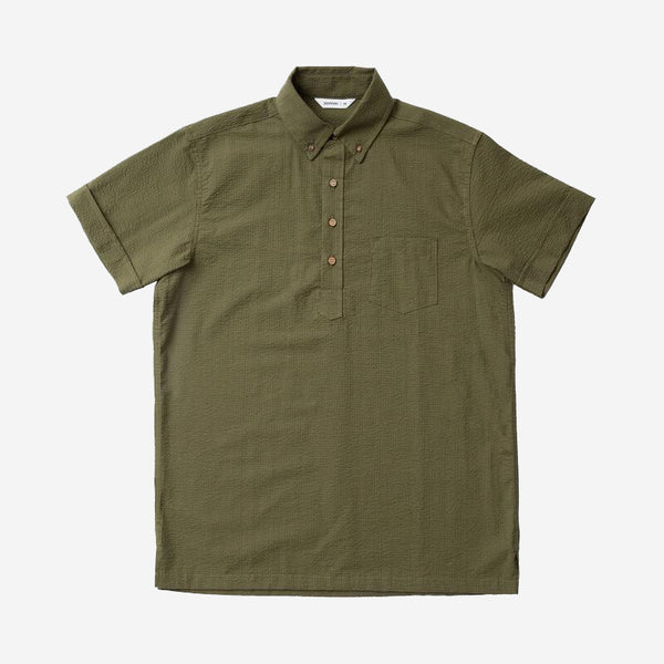 Popover Short-Sleeve Shirt - Olive Seersucker