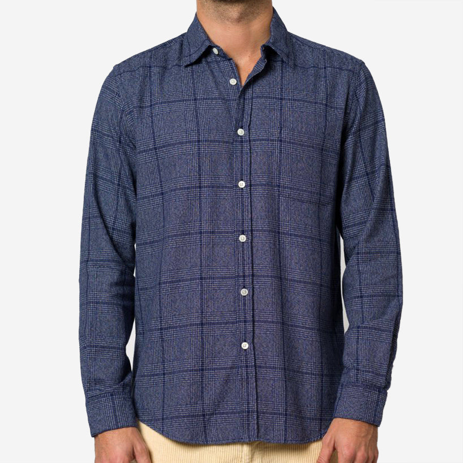 Portuguese Flannel - Prince of Wales Check Flannel Shirt - Blue