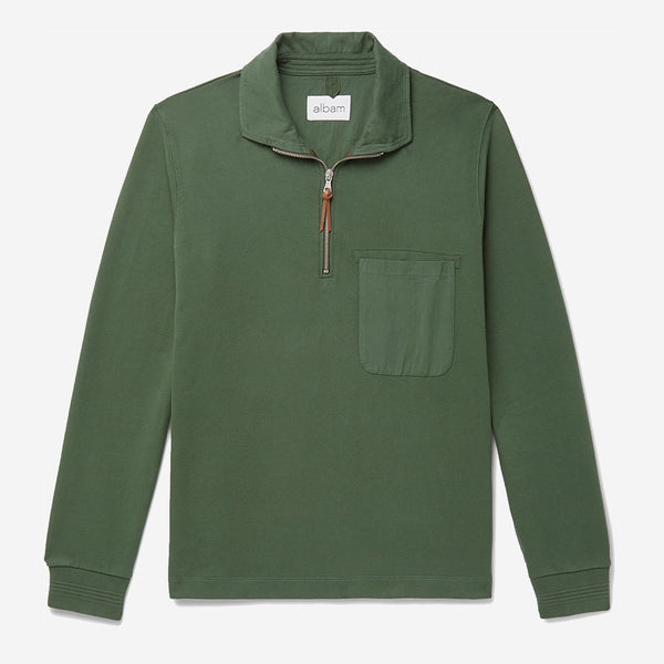 Quarter Zip Pullover - Pine Green