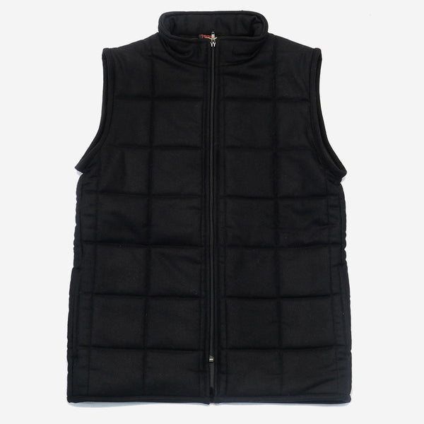 Vetra - Workwear Quilted Vest - Black Melton Wool