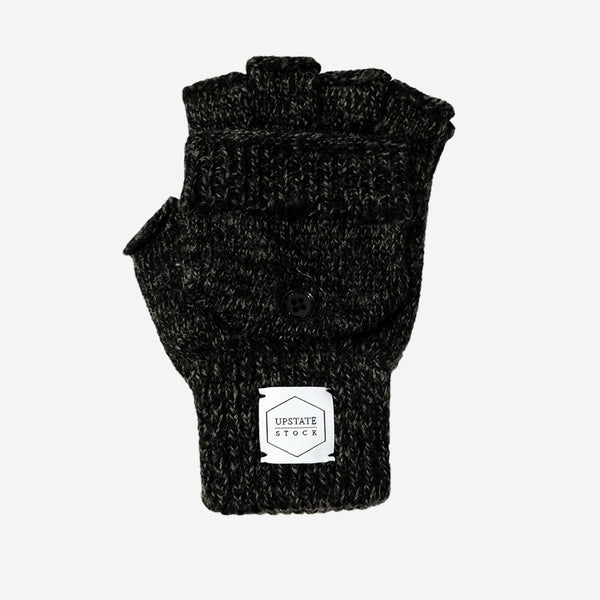 Upstate Stock - Ragg Wool Convertible Fingerless Glommit - Black Melange