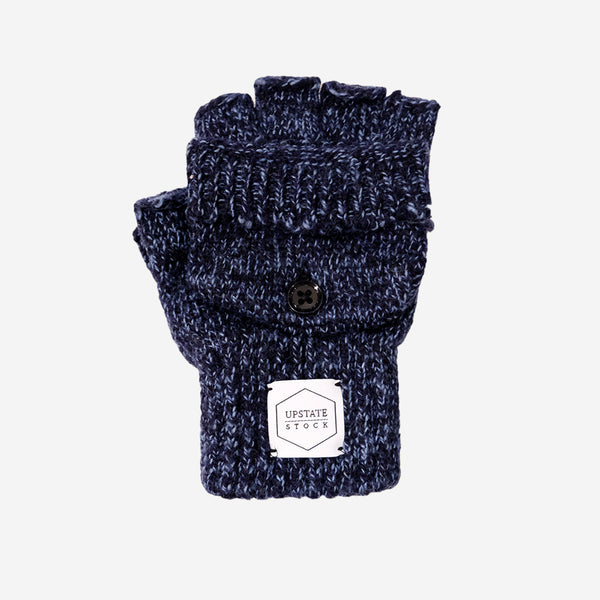 Upstate Stock - Ragg Wool Convertible Fingerless Glommit - Denim Melange